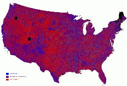 Purple America: 2004 elections results by county. By Robert J. Vanderbei (click to get to the source)
