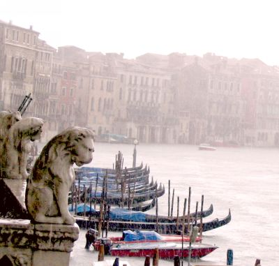 Venice: lions of Ca' d'Oro looking at rain